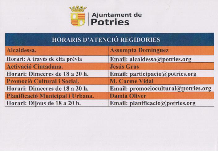 Horaris Regidories